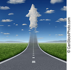 No limits success concept with a road or highway going forward fading into the sky with a group of clouds shaped as an upward arrow as a business symbol of financial freedom and aspirations.
