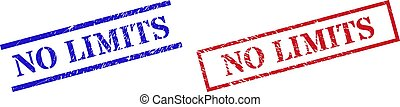 Grunge NO LIMITS rubber stamps in red and blue colors. Stamps have rubber texture. Vector rubber imitations with NO LIMITS text inside rectangle frame, or parallel lines.