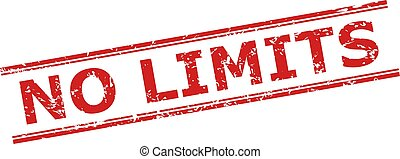 Red NO LIMITS stamp seal on a white background. Flat vector scratched seal stamp with NO LIMITS title between double parallel lines. Watermark with unclean surface.