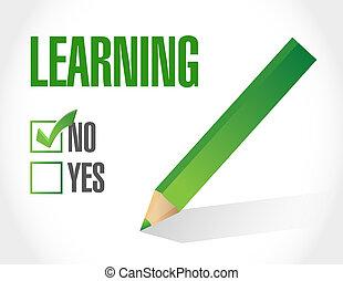 no, lista, ilustración, diseño, aprendizaje, cheque