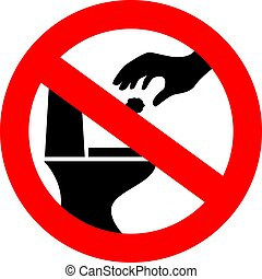 No littering in toilet vector sign
