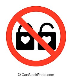 No lock sign with heart shape. A simple silhouette of the lock.No Shape of a heart.