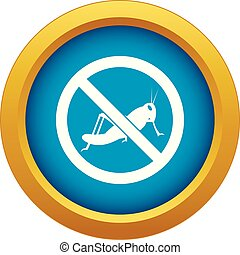 No locust sign icon blue vector isolated on white background...