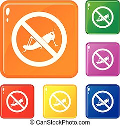 No locust sign icons set vector color - No locust sign icons...