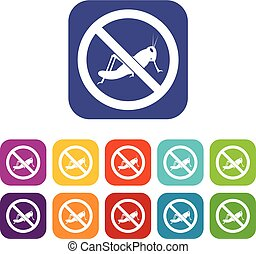 No locust sign icons set vector illustration in flat style...