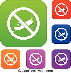 No locust sign set collection - No locust sign set icon in...