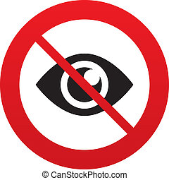 No look. Eye sign icon. Publish content button. - Do not...