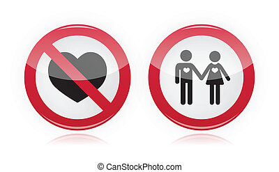 No love, no couples forbidden sign
