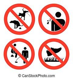 no, lugares, colección, no, escupir, white., céspedes, vector, signo., aislado, pooping, caminata, ilustración, hacer pis, aire libre, gente, mascotas, symbols., público