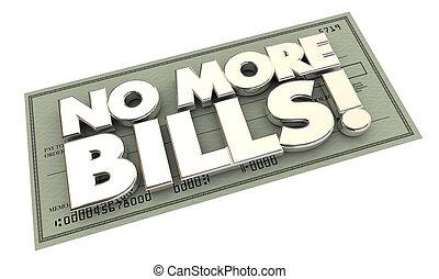 no, más, cuentas, pagos, deuda, palabras, cheque, 3d, ilustración
