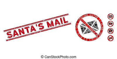 No Mail Mosaic and Distress Santa'S Mail Stamp Seal with Lines