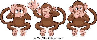 no, male, scimmie, vedere, sentire, caratteri, cartone animato, parlare