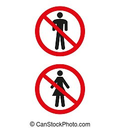 No man and no woman sign on white background.