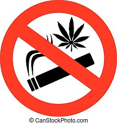 No marijuana smoking sign isolated on white background