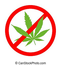 NO marijuana symbolic sign red circle green leaf white background vector illustration.