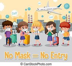 No mask no entry sign illustration