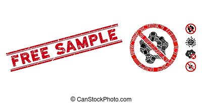 No Microbe Mosaic and Scratched Free Sample Stamp with Lines