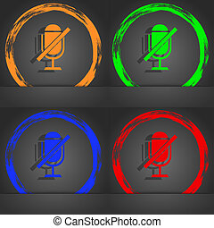 No Microphone sign icon. Speaker symbol. Fashionable modern style. In the orange, green, blue, red design.