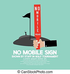 No Mobile Sign In Golf Tournament Vector Illustration