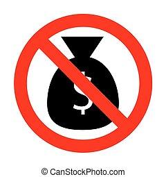 No Money bag sign illustration.