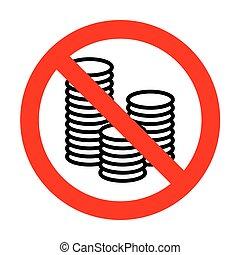 No Money sign illustration.