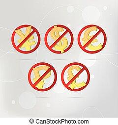 No Money stop vector sign