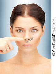 no more acne - bright closeup portrait picture of beautiful...