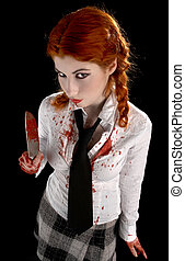no more school - angry schoolgirl with bloody knife over...