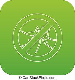 No mosquito icon green vector