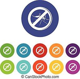 No mosquito icons set vector color - No mosquito icons color...