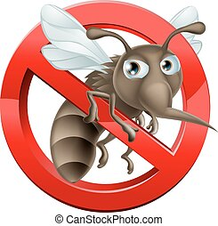 A no mosquitoes illustration of a cartoon mosquito in red circle stop sign