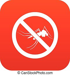 No mosquito sign icon digital red