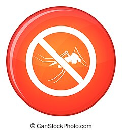 No mosquito sign icon, flat style