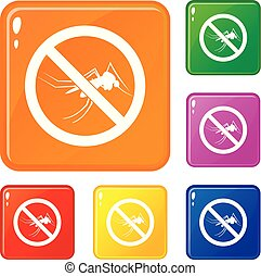 No mosquito sign icons set vector color