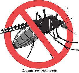 No mosquito sign isolated on white background.
