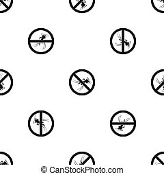 No mosquito sign pattern seamless black