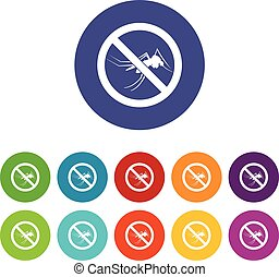 No mosquito sign set icons