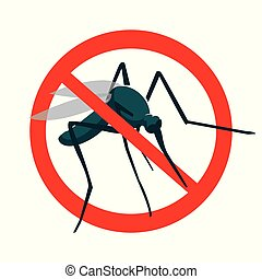 No mosquito sign stop mosquito sign isolated on white background