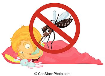 No mosquito while girl sleeping