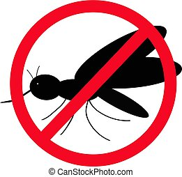 No mosquitoes. The black silhouette of a mosquito. Vector...