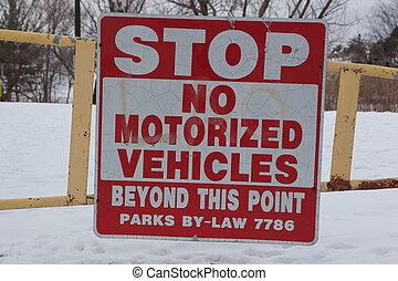 No Motorized Vehicles Sign - Sign warning No Motorized...