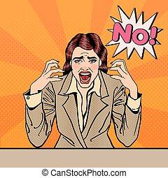 no., negócio mulher, gritando, estouro, vetorial, ilustração, cansado, frustrado, art.