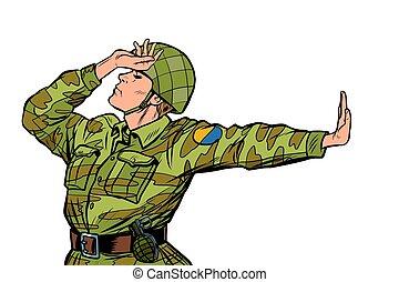 no., negación, soldado, pacifista, uniforme, vergüenza, anti...