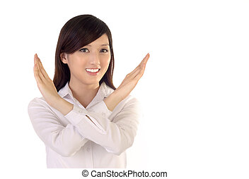 no - No sign of business woman image on white background.