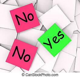 no, notas, negativo, respuestas, afirmativo, post-it, sí, o, medio