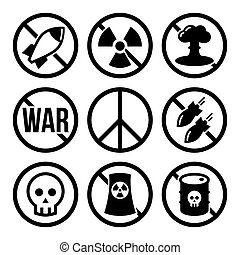 No nuclear power plants, no war vector warning signs design in black on white