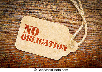 No obligation sign on price tag