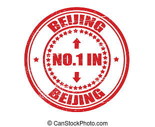 No one in Beijing - Stamp with text no one in Beijing inside...