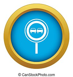 No overtaking sign icon blue isolated