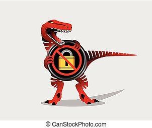 No padlock symbol with dinosaur. Danger sign.